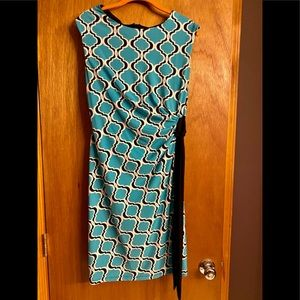 Blue and Navy Graphic Print Tank Dress w/ tie
